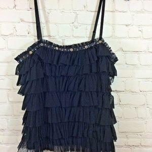 XXI Womens Black Layered Ruffle Top Size Medium
